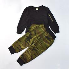 Мода Камуфляж Дети Мальчики Одежда Набор Осени Малышей Одежда 2 шт. Черный Майка + брюки Мальчик Спортивный Костюм Отдыха одежда(China (Mainland))
