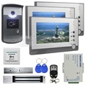 DIYSECUR 7inch Video Door Phone Door Bell Intercom RFID Reader Metal Night Vision Camera Magnetic Lock