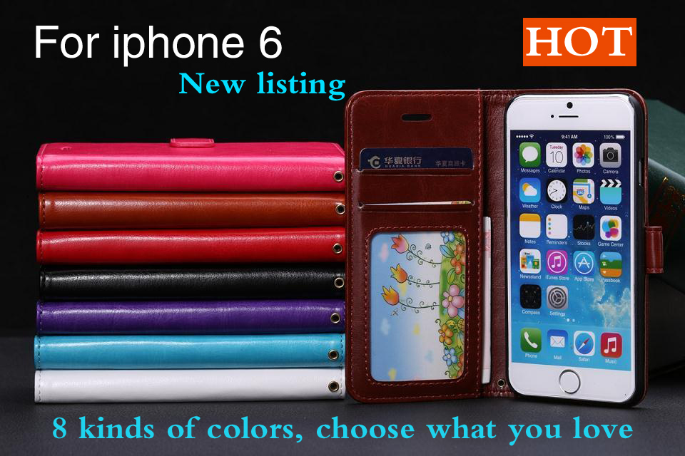 4.7 inch flip phone cover for apple iphone 6 leather case Wallet photo frame models cell phone case for iphone 6 6s(China (Mainland))