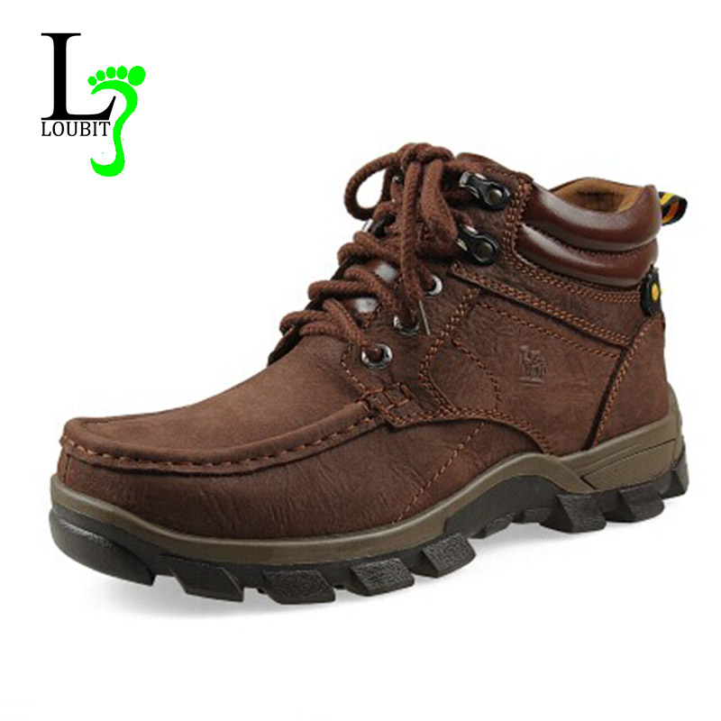2015 Men Winter Boots Best Quality Genuine Leather Boots With Fur Fashion Hiking Outdoor Shoes Plus Size(China (Mainland))