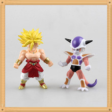 2pcs/lot Anime Action Q Version Dragon Ball Z Super Saiya Broly First Form Freeza Action Figure Collectable Model Doll Toys