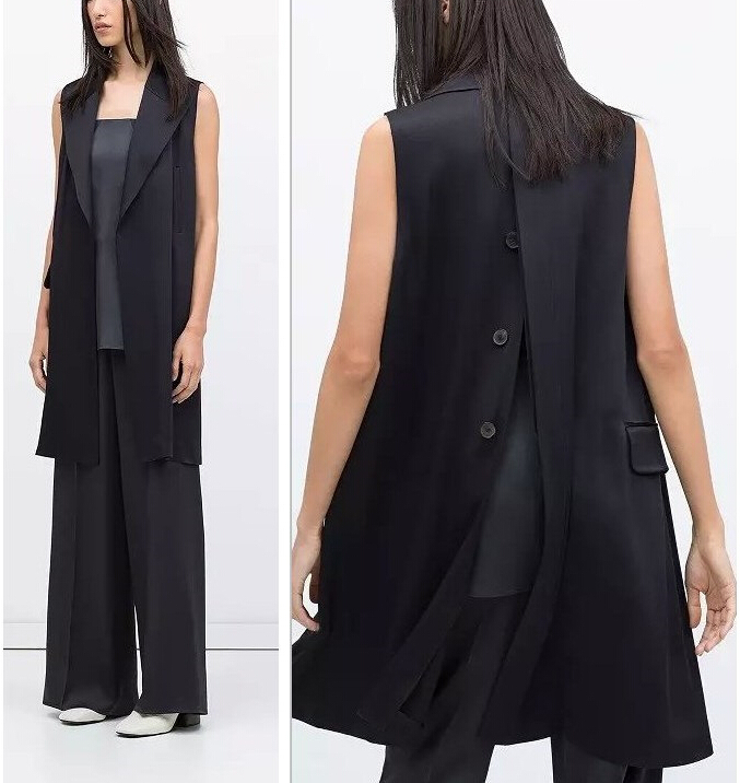 2015 Autumn New Solid Woman's Long Vest Back Split Buttons Lady Sleeveless Loose Vest Coat European Brand Design Chalecos Mujer
