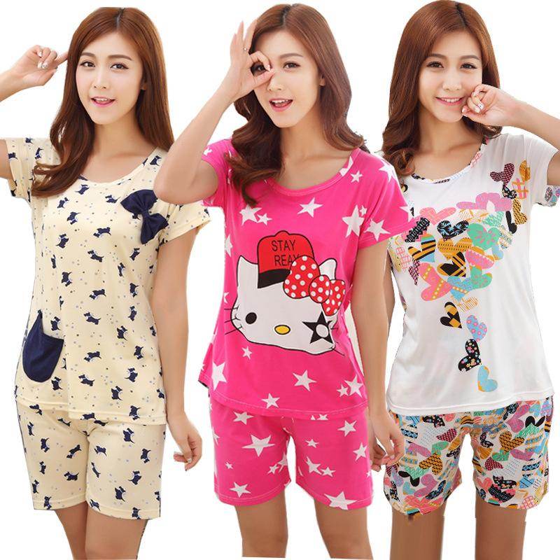 2015 Summer new arrival sleepwear female penitently dog milk silk short-sleeve comfortable casual set plus size pijama women(China (Mainland))