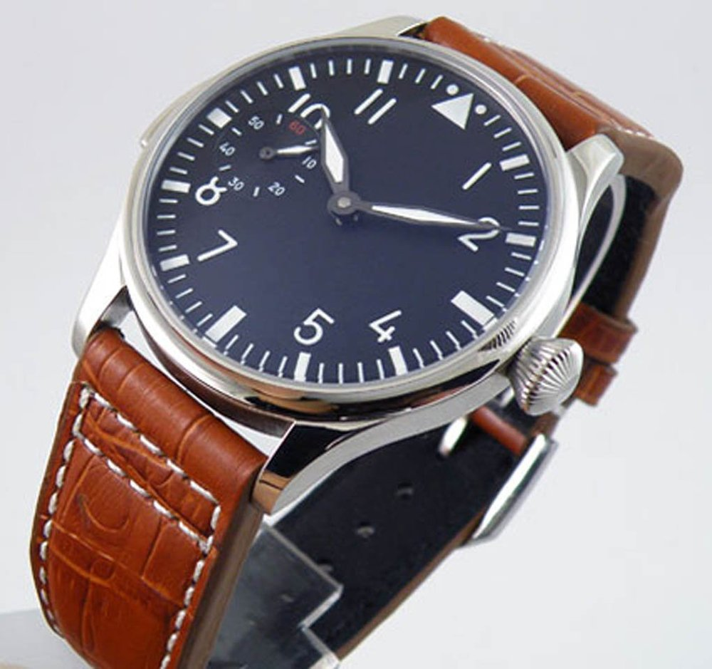 Parnis Black Dial White Numnber Special Mechanical Hand Winding Men's Women's Watch Brown Leather Strap - parnis store
