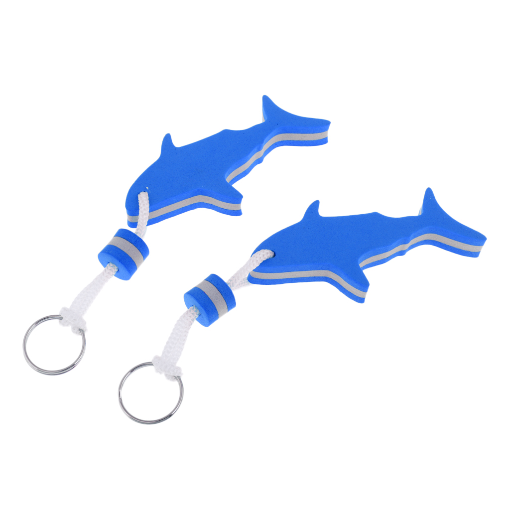 2 Pieces Shark Shaped EVA Foam Floating Keychain Yachting Sailing Swim Surf Boat Fishing Keyring Water Key Float - Choose Colors