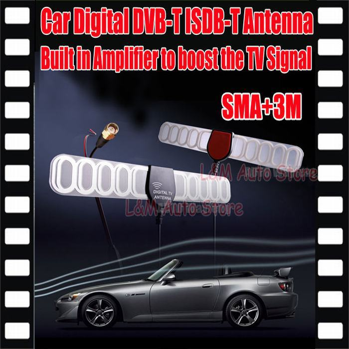 Digital TV Active Antenna Mobile Car Digital DVB-T ISDB-T Antenna Aerial with a Amplifier Booster Antenna 3 M + Free shipping(China (Mainland))