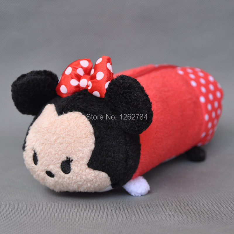 GENUINE Tsum Minnie Mickey School Stationary Cute Plush Pencil Case Pen Bag 7 inch - ToyWorld store