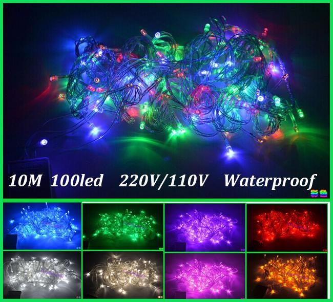 Led string light 10M 100led AC110V or AC220V colorful holiday led lighting waterproof outdoor decoration light christmas light(China (Mainland))
