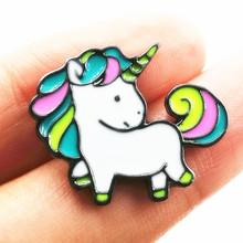 X147 Cartoon Cute Rainbow Horse Unicorn Design Metal Brooch Pins Wholesale(China (Mainland))
