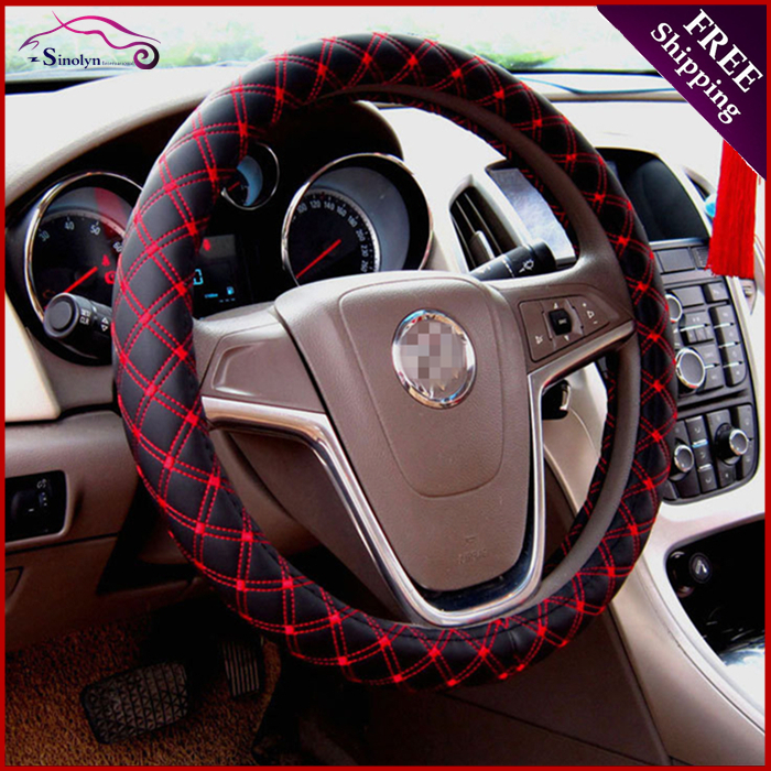 Buy New Microfiber Decorative Pu Leather Steering Wheel Cover Wrap Black Red
