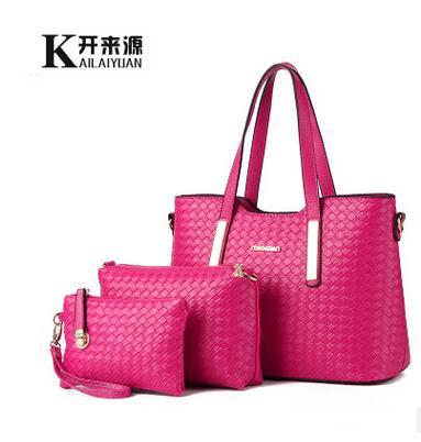 100% Genuine leather Women handbags 2016 new female bag tide woven pattern lash three piece suit bag Crossbody Shoulder Handbag(China (Mainland))