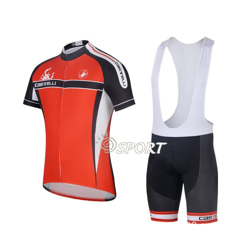 French red scorpion black strap summer short suit cycling wear moisture wicking riding clothes for men and women section(China (Mainland))