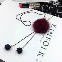 Femmes dames hiver collier Long Jersey chandail chaîne fourrure pompon pendentif collier bijoux accessoires cadeau pour les filles livraison directe(China)