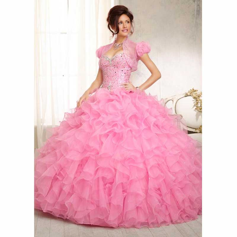 2016 Organza Ball Gown Plus Size Pink Quinceanera Dresses