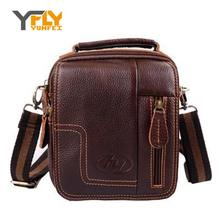 Y-FLY 2016 New Fashion Men's Messenger Bag Retro Shoulder bag Genuine Leather Small Crossbody Bags Men's Briefcase Bags DB3710
