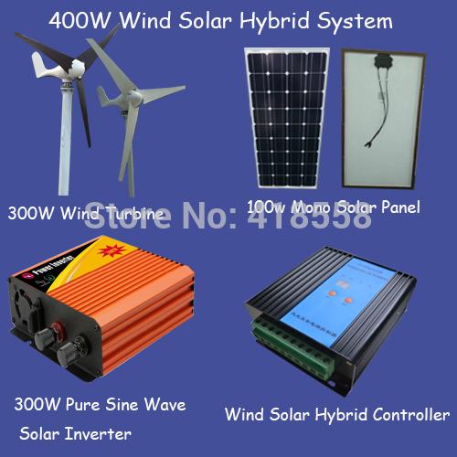 400w generator/300w wind turbine/mono solar panel 100w/300w pure sine wave inverter/600w wind solar hybrid controller(China (Mainland))