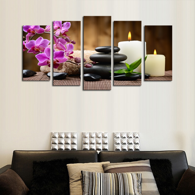 5 Pieces/set Luxry Purple Flowers Candle Wall Art Prints Canvas Printed Painting Artwork Pictures for Home Decor Frameless(China (Mainland))