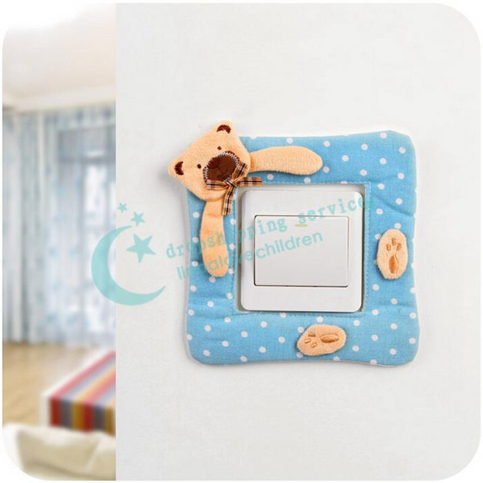 Home decor pastoral polka dot canvas wall sticker cartoon bear switch stickers creative switch - Creative home decorations set ...
