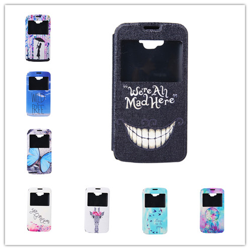 Case For Alcatel One Touch Pop C5 View Window PC plastic cover Flip Cartoon PU Leather Cover For Alcatel One Touch Pop C5(China (Mainland))