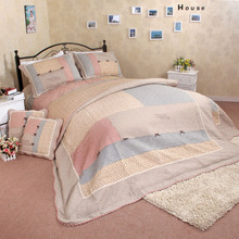 NEW Adult Korea quilt cover Quilt Set Add size 3Pcs/set printed embroidery cotton Double summer Set use room home Dec FG203(China (Mainland))