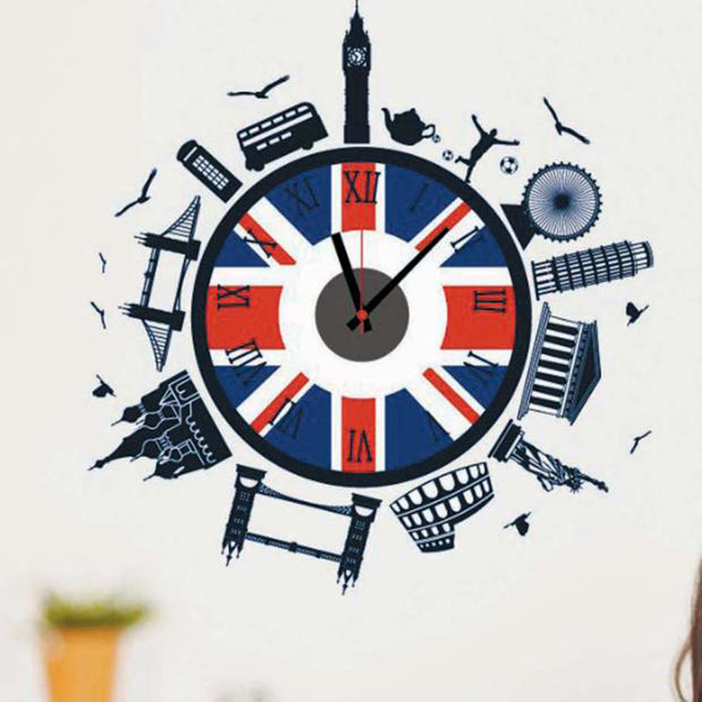 Best Promotion 3D DIY Modern European Style Landscape Hours Clock Wall Sticker Home Decor Decal Lowest Price(China (Mainland))