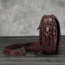 Aaron Luxury Bottom Hasp Open Men s Flap Crazy Horse Leather Zipper Male Messenger Bags Multi