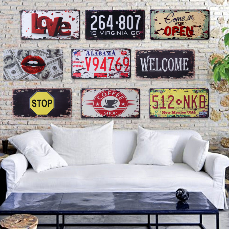 American style vintage retro license plate metal painting for Plaque metal deco pour mur