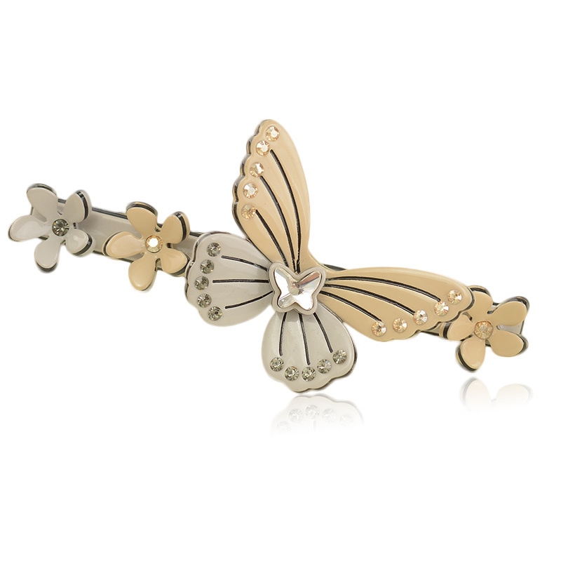 2015 New Arrival Butterfly Flowers Barrette Hand-made Cellulose Acetate Hair Clip For Females With Austrian diamond(China (Mainland))