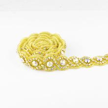 Buy Fashion Clear Rhinestone Applique Trim gold AB wedding dress gowns headwear DIY wedding decoration motif rhinestone for $10.75 in AliExpress store