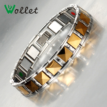 2016 Fashion Jewelry Health Care Infrared Germanium Tourmaline Negative Ion Magnet Carbide Gold Magnetic Tungsten Bracelet Men(China (Mainland))