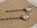 Vintage Round Glass Cabochon Hair Accessories for Girls Simple Antique Bronze Hair Pins for Kids fq004