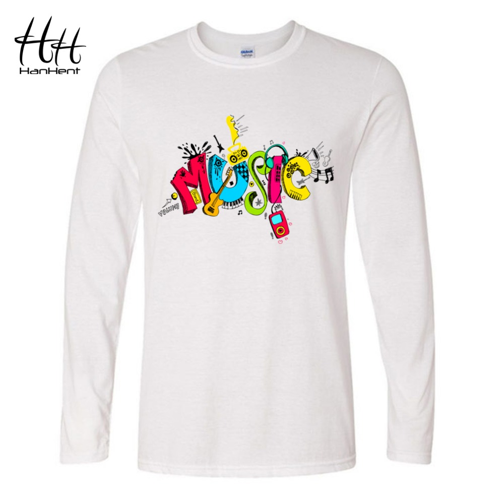 HanHent 3D MUSIC T shirts O Neck Long Sleeve Swag Hip Hop Punk Rock Fashion Streetwear 2016 Dynamic Design Unisex Brand Clothing(China (Mainland))