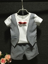 new 2016 summer Children  boys suit set striped vest shorts 2 piece waistcoat&shorts suit kids gentleman suit wedding outfit set