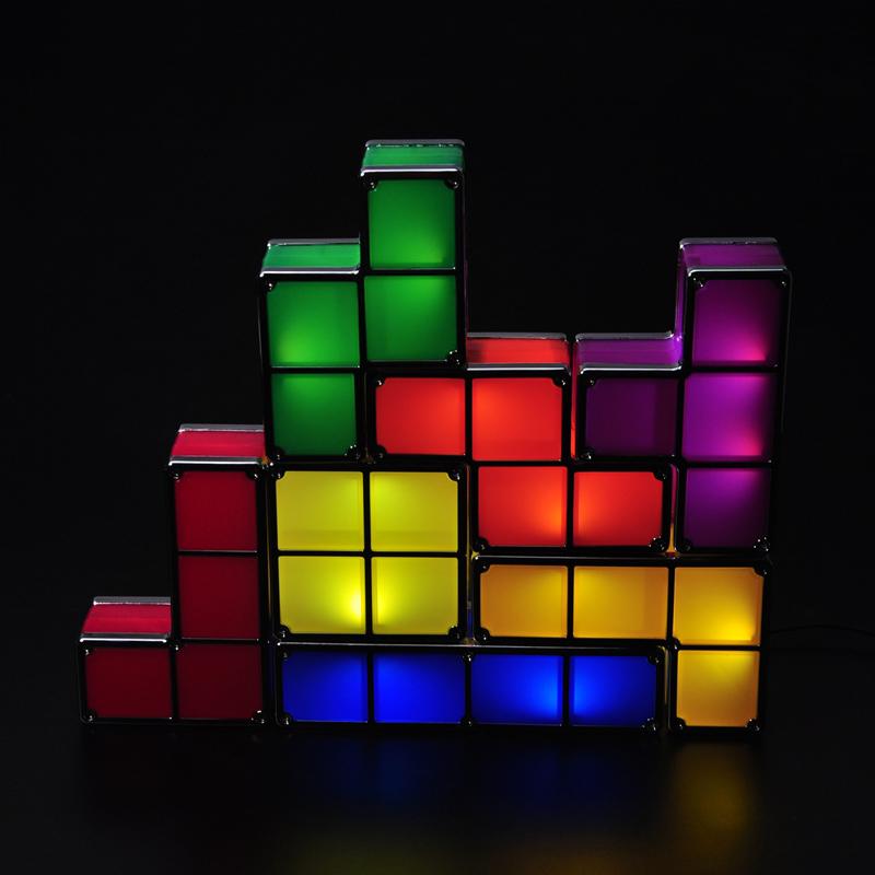 Novelty Night Light Game Style Rechargeable Tetris Light