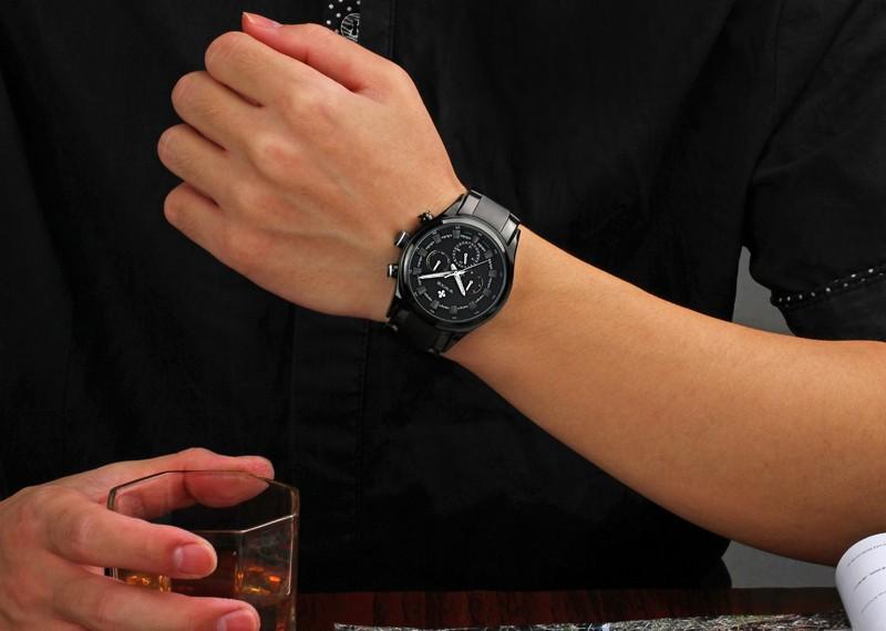 2016 Топ Роскошные Часы Мужчины Полная Сталь Военная Спортивные Часы Авто Дата Календарь Водонепроницаемый Кварцевые Наручные Часы relógio masculino
