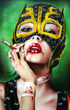 100% Handmade Canvas Painting Reproduction Abstract Modern Pop Art on Canvas Smoking Red-lip Sexy Girl by Brian M.viveros(China (Mainland))