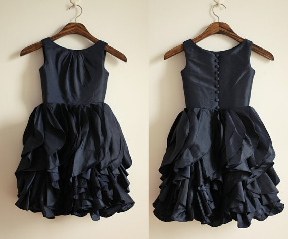 2014 New Dark Navy Blue red Taffeta Ruffled Flower Girl Dress Infant Toddler Bridal Party Dress with Buttons(China (Mainland))