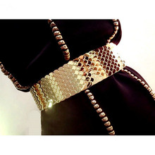 Buy Europe fashion female gold fish scale metal elastic wide girdle women nightclub party shiny accessories waist belt waistband for $14.98 in AliExpress store