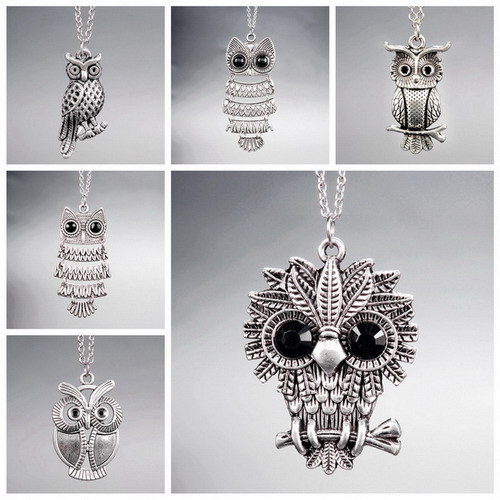 Vintage Animal Pendant Cute Owl Crystal Necklace Antique Silver Plated Chain Statement Necklace Jewelry for Women Christmas Gift(China (Mainland))