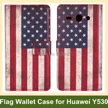 Huawei Y530 UK USA National Flag PU Leather Wallet Flip Cover Case Stand Function - Abby 's store