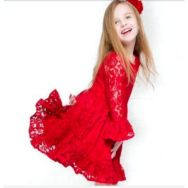 Pretty Girls Kids Floral Lace Hollow One-Piece Red Dress Children Girl Ruffled Pageant Tutu Dresses(China (Mainland))