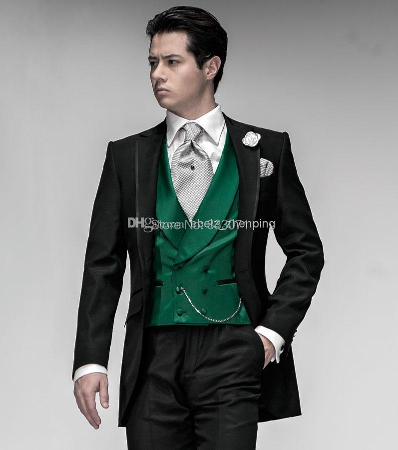 custom tailor Groom Tuxedos Black Suit Green Vest Notch Lapel Best ...