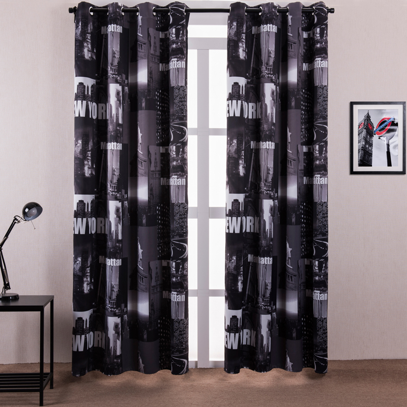 Window curtain living room printed new york letters for Curtains and drapes nyc