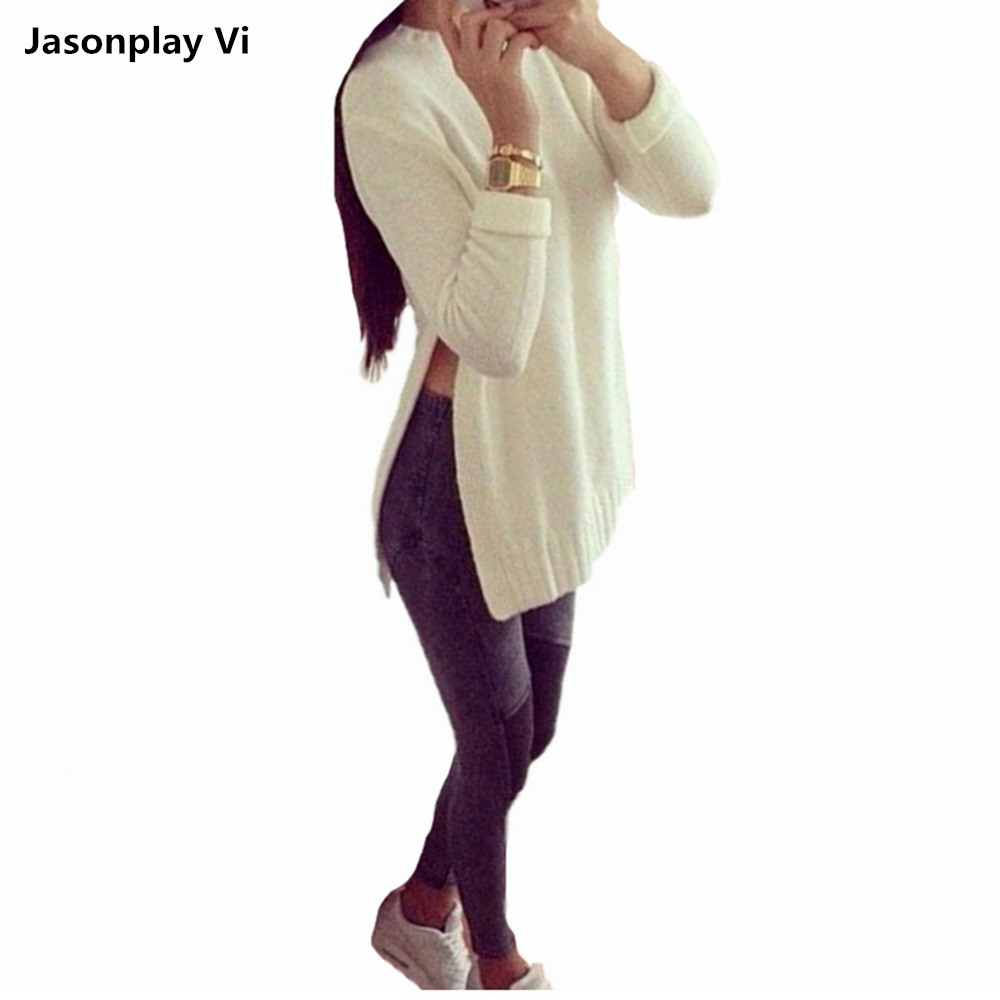 Big size Sexy women sweater dress 2016 New Fashion Pullovers Spring and winter sweater Show Thin Split sweaters pull femme XC3(China (Mainland))