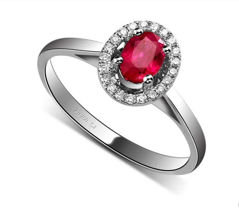 Hot Sale AU750 white gold inlay Women Myanmar rubies Rings 18k Group inlay of small Ring Total weight 2.39g(China (Mainland))
