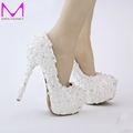 Free Shipping White Lace Bride Shoes Evenign Prom Bridal Dress Shoes 14cm High Heels Platform Bridesmaid