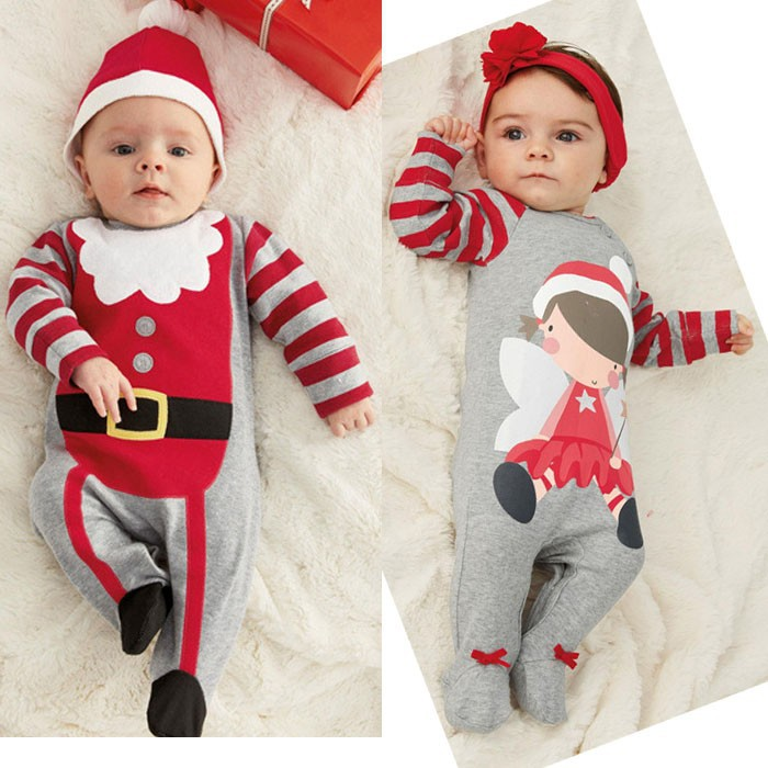 2015 Christmas Gifts Baby rompers One-piece Costumes girls boys long sleeve autumn baby wear clothing set top+headband or hat(China (Mainland))