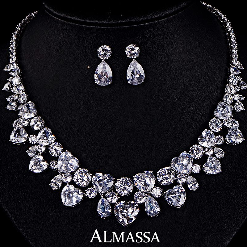 Hot ! Bridal The Best Present Heart Shape Drop Top Quality Swiss Cubic Zirconia Diamond Jewelry Set<br><br>Aliexpress