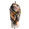 Brand Cashmere Scarf Triangle Hot Mode Plaid Winter New Designer Warm Soft Thicken Basic Shawls For