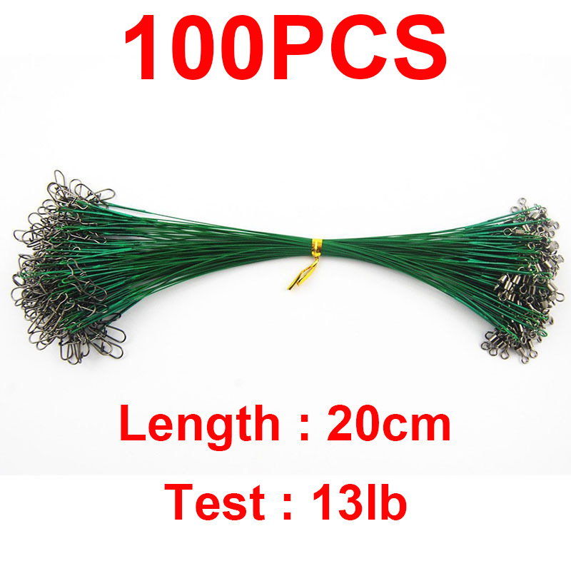 100pcs 20cm Nylon Coated Fishing Wire Leader Stainless Steel Braided Trace Spinning Leader Rigs Steel Wire Line With Snap Swivel(China (Mainland))